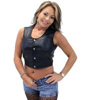 Snap Up Lambskin Leather Crop Top Vest #VL3014SNAP (M-2X)