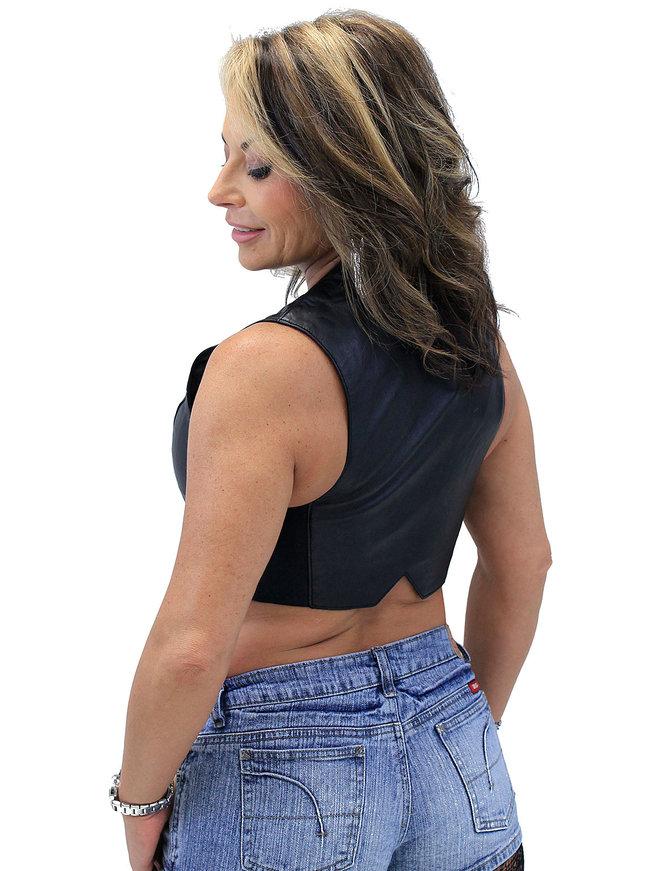 Lambskin Leather V-Neck Zip Crop Vest #VL3026ZK (XS-2X)