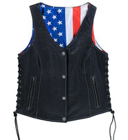 Unik USA Flag Lined Women's Side Lace CCW Leather Vest #VL6890USA