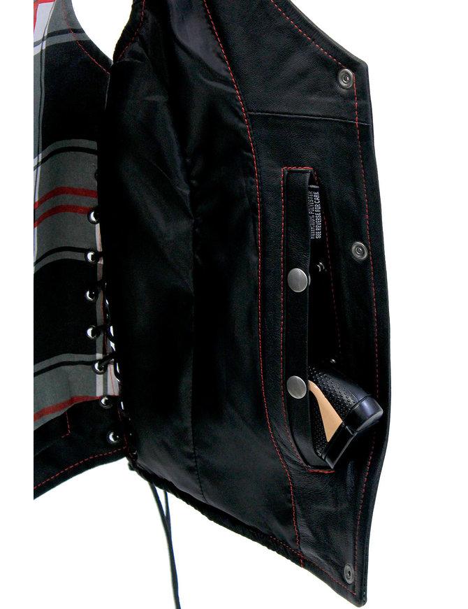 Unik Red Stitch Women's Double CCW Side Lace Vest #VL6895GLR