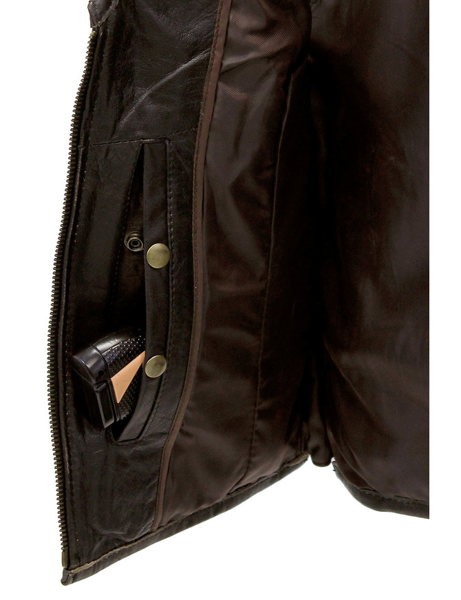 Unik Women's Vintage Brown Conceal Carry Leather Vest CCW #VLA686GN