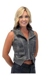Jamin Leather Women's Vintage Brown V-Zip Leather Vest #VLA2038ZN (S-3X)