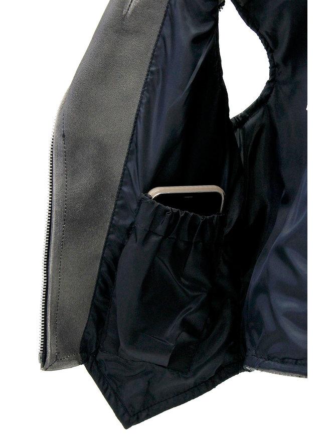 Jamin Leather Women's Vintage Brown V-Zip Leather Vest #VLA2038ZN