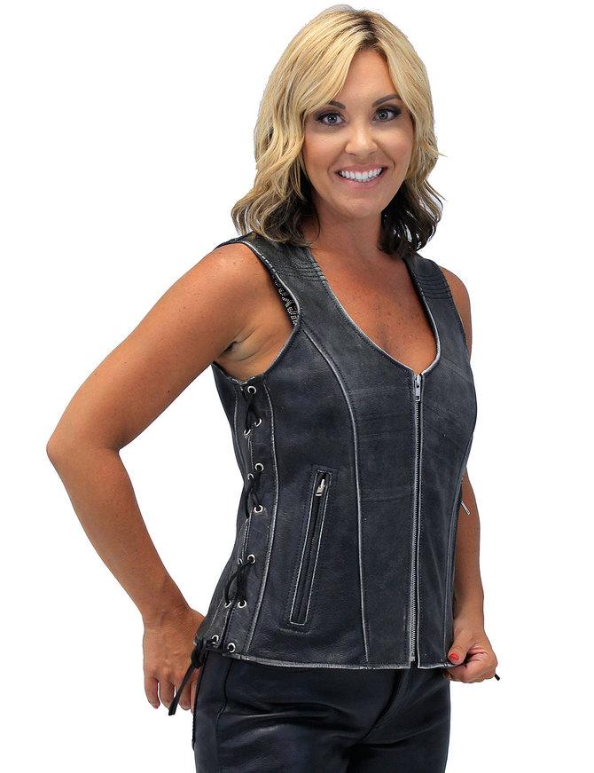 Vintage Gray Women't Dual CCW Side Lace Zip Vest #VLA801GLG