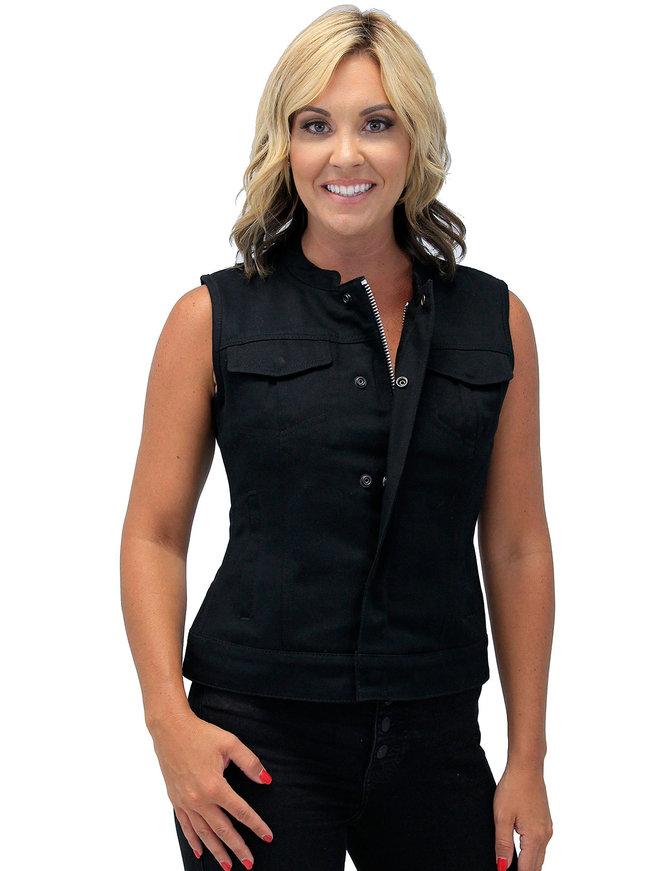 First MFG Heavy Denim Women's Biker Vest w/Easy Access Pocket #VLC518GZK