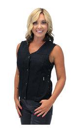Heavy Denim Women's Side Lace CCW Biker Vest #VLC519GLK