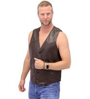 Jamin Leather Premium Brown Button Down Lambskin Leather Vest for Men #VM504BTN