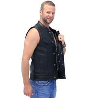 Unik Thin Blue Line Flag Lining CCW Leather Club Vest #VM66705GU