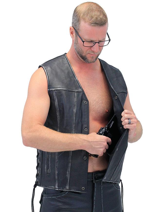 Unik Vintage Black Side Lace CCW Straight Bottom Vest #VMA2611GK