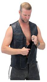 Unik Vintage Brown Side Lace CCW Straight Bottom Vest #VMA2612GN