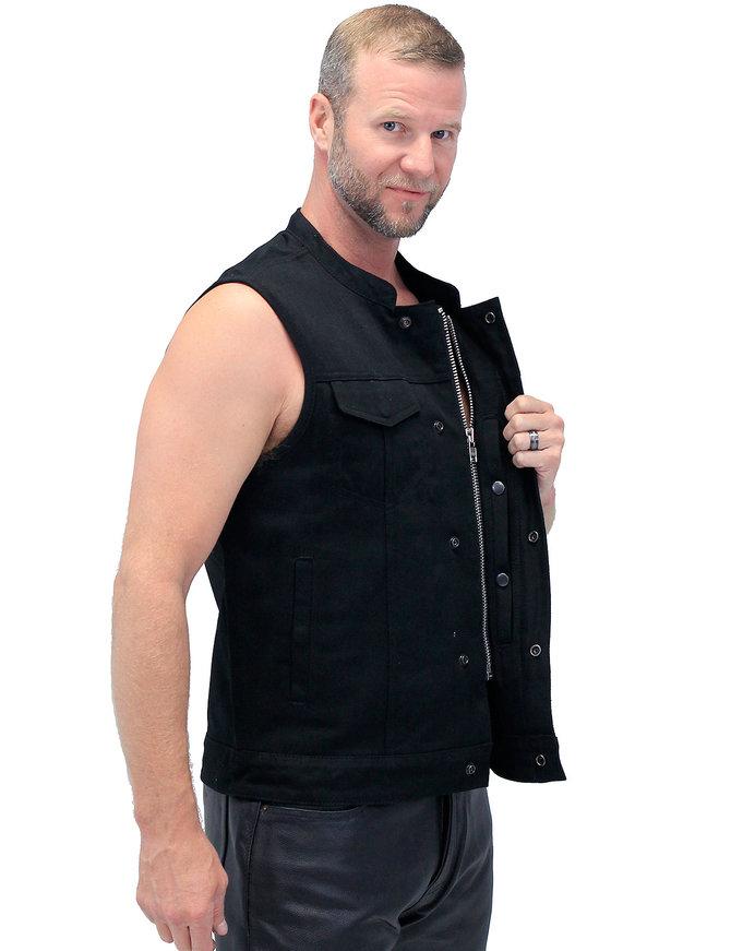 First MFG Men's Heavy Denim Black Club Vest w/Easy Access #VMC629GZK