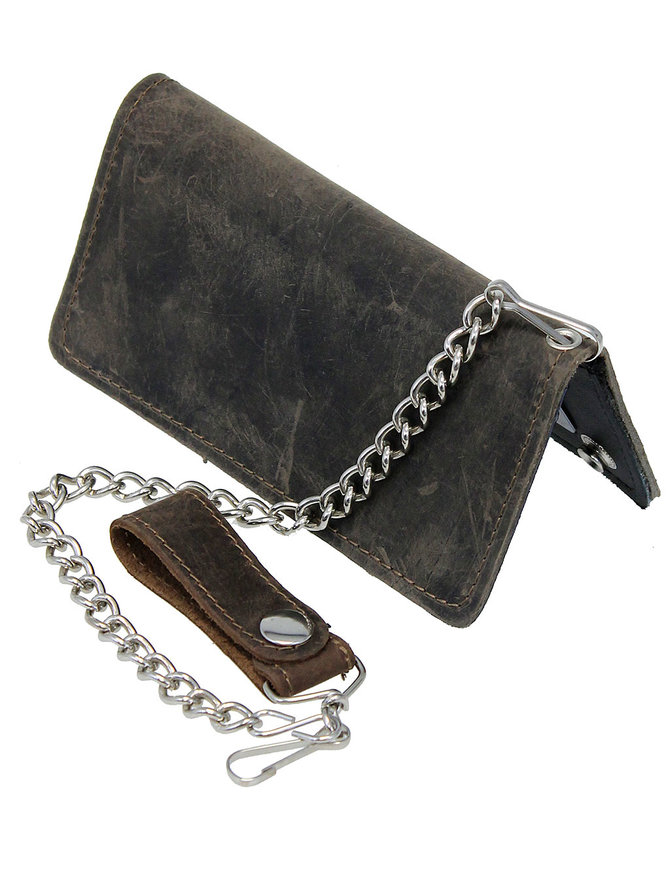 Vintage Brown Leather 7 in Tall Bifold Chain Wallet #WC57051ZN