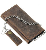 Vintage Brown 15 Compartment Tall Chain Wallet #WC57081AN