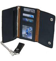 Antique Black 10 Pocket Soft Leather Chain Wallet #WC90550AK