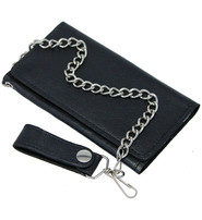 Black Leather Tall Trifild Chain Wallet #WC90590K