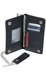Black Leather 7 in Tall Bifold Chain Wallet #WC90870K