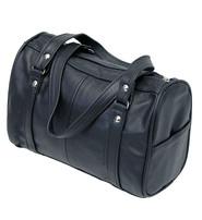 Double Handle Black Leather Barrel Purse #P4980K
