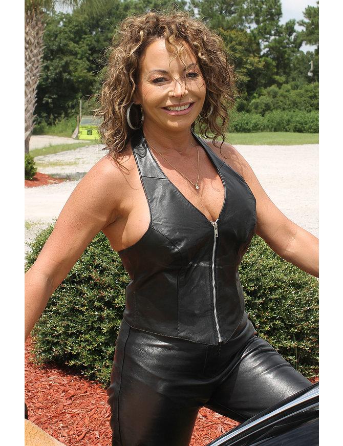 Jamin Leather Zip Leather Halter Vest #LH0513Z