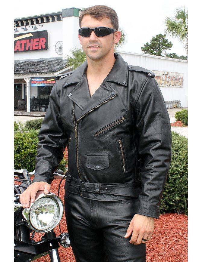 Jamin Leather Black Highway Patrol Leather Jacket w/Long Back #M461Z