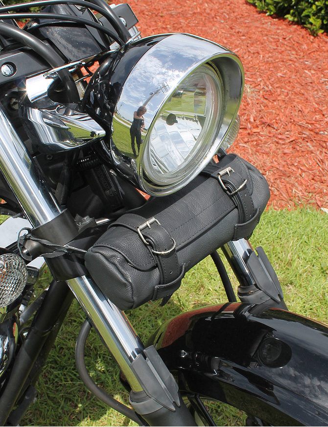 Round Soft Black Leather Motorcycle Tool Pouch #TP716K