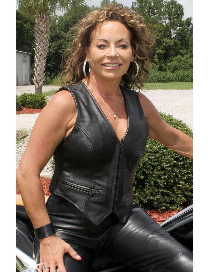 Expert Stretch Side Leather Vest for Women #VL535XZ
