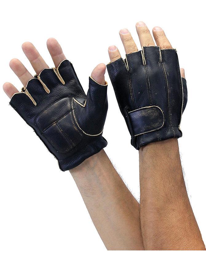 Vintage Brown Gel Palm Fingerless Gloves #G81342N