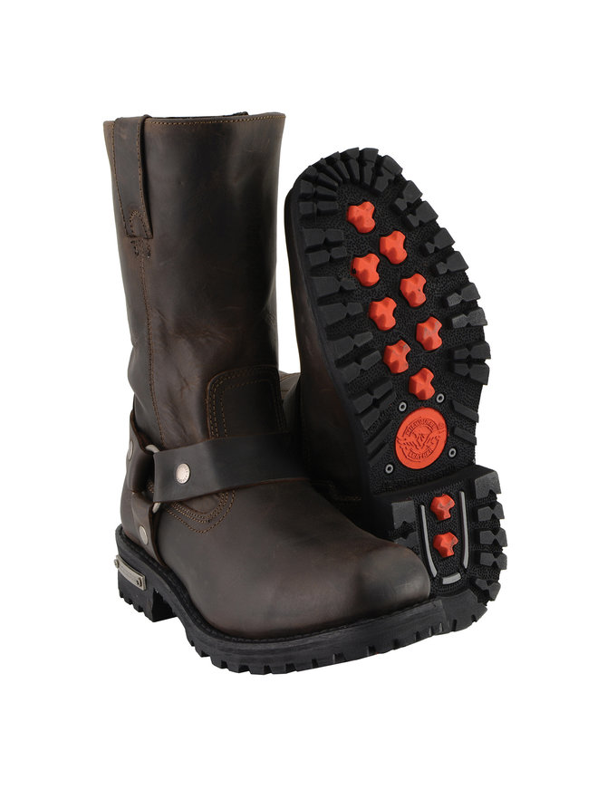 Men's Brown Vintage Milwaukee Harness Riding Boots w/Zipper #BMA9005ZHN