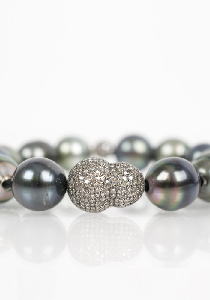 Tahitian Pearl and Diamond Nugget Bracelet
