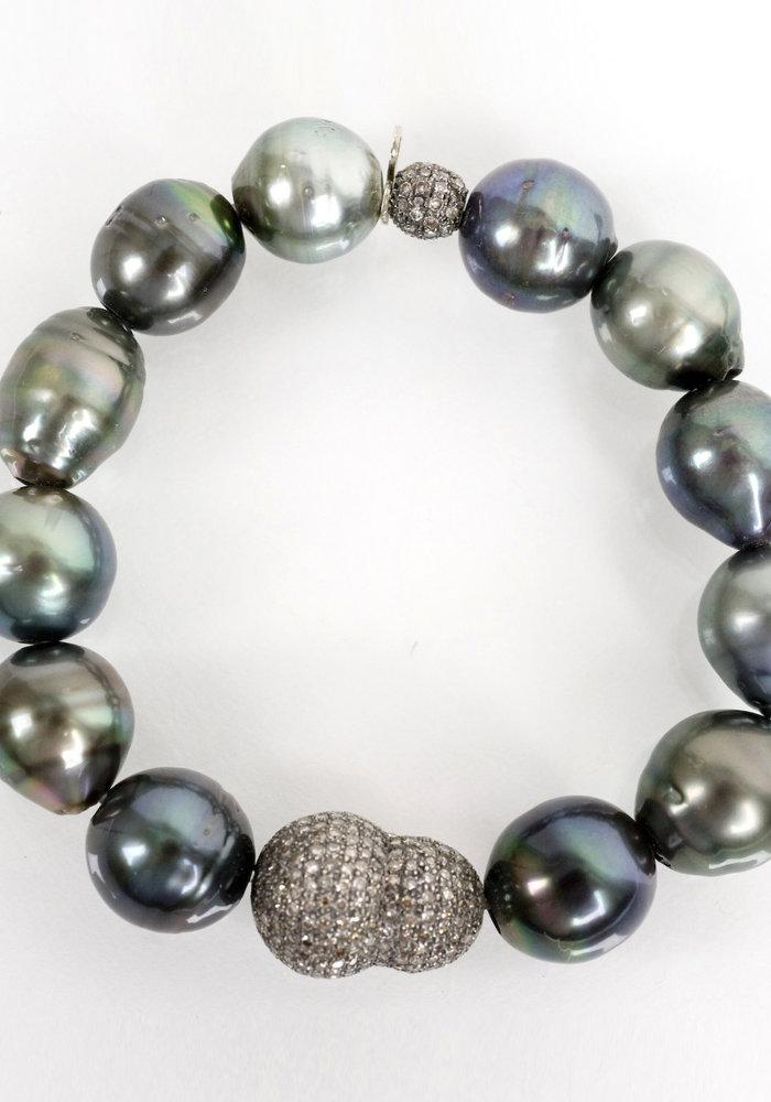 Tahitian Pearl and Diamond Nugget Bracelet