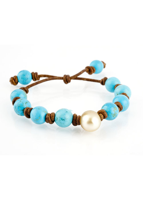 Mina Danielle Turquoise and Yellow South Sea Pearl on Tan Leather