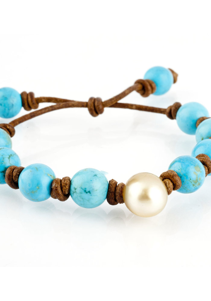 Turquoise and Yellow South Sea Pearl on Tan Leather