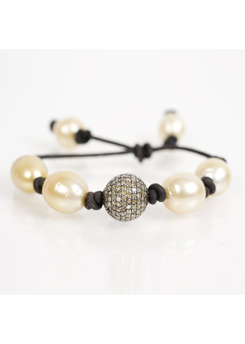 Mina Danielle Yellow South Sea Pearls with Pavé Diamond Nugget