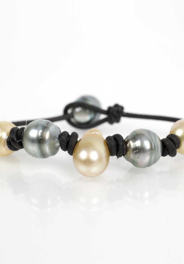 Yellow Teardrop South Sea and Tahitian Pearl bracelet