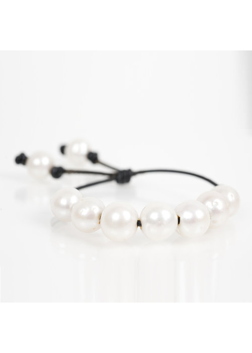 Mina Danielle White Fresh Water Pearls on Black Leather Cord