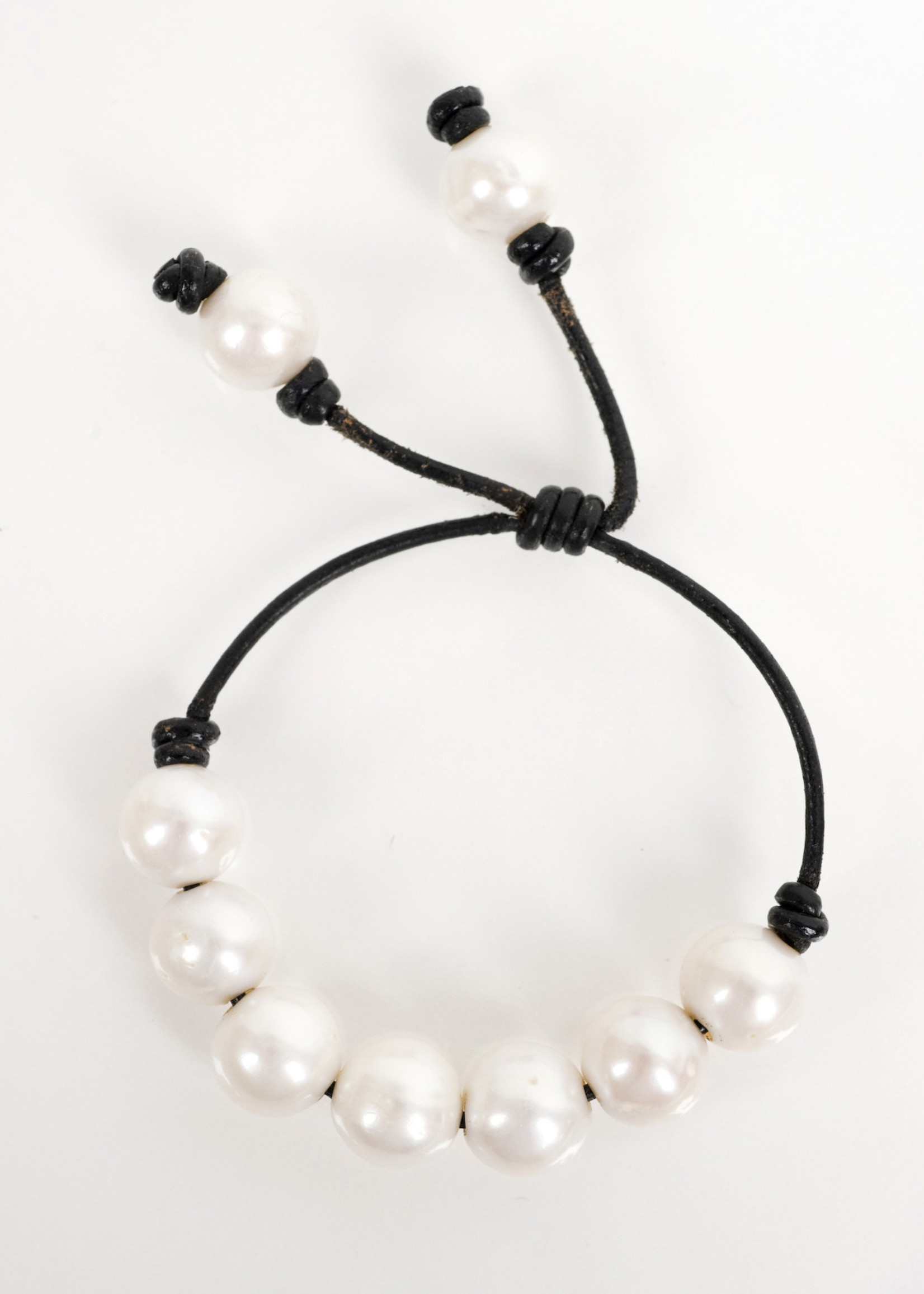 Mina Danielle White Fresh Water Pearls on Black Leather Cord