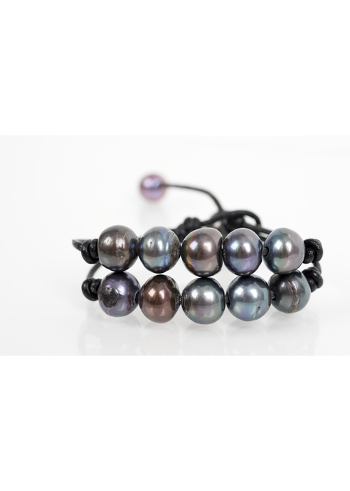 Mina Danielle Double Strand Gray Fresh Water Pearls on Black Leather Cord
