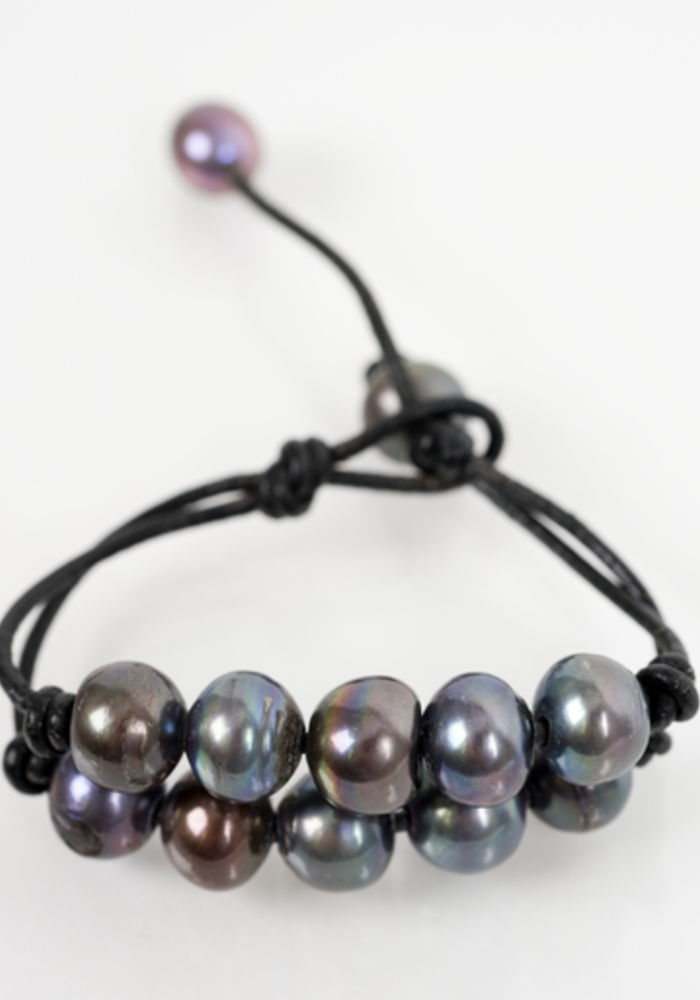 Double Strand Gray Fresh Water Pearls on Black Leather Cord
