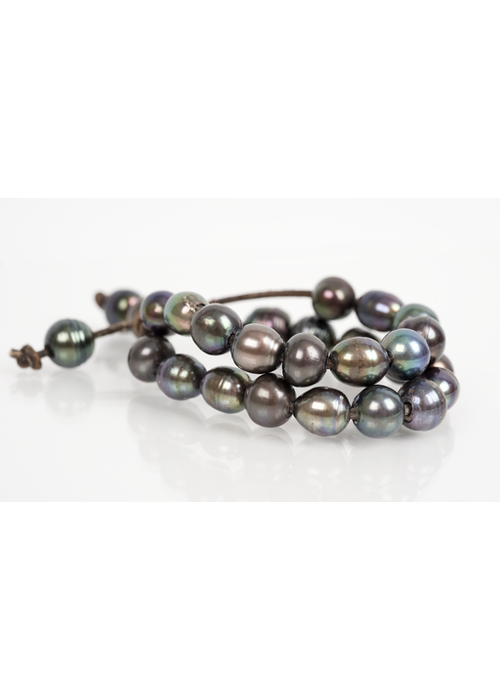 Mina Danielle Double Strand Gray Pearl Bracelet with Five Hanging Pearls