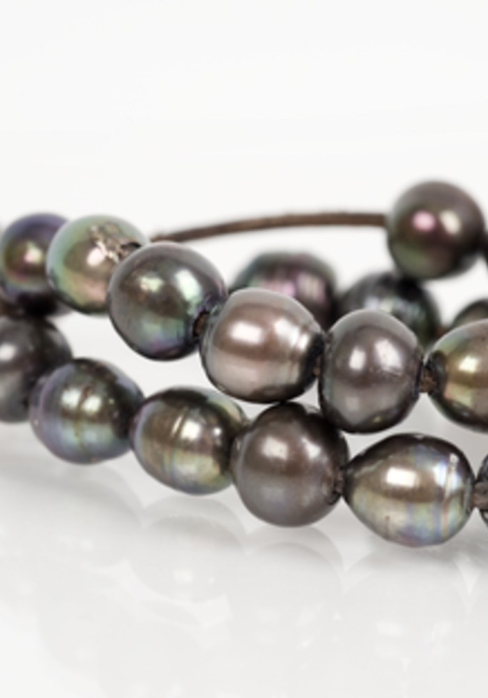 Double Strand Gray Pearl Bracelet with Five Hanging Pearls