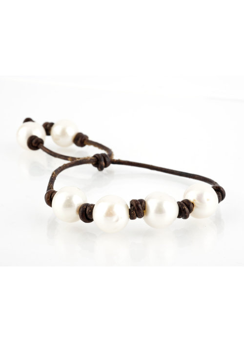 Mina Danielle Four Fresh Water Pearls on Chocolate Brown Leather Cord