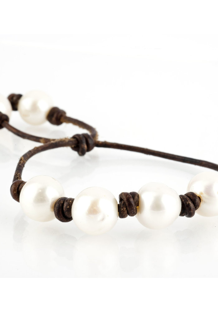 Four Fresh Water Pearls on Chocolate Brown Leather Cord