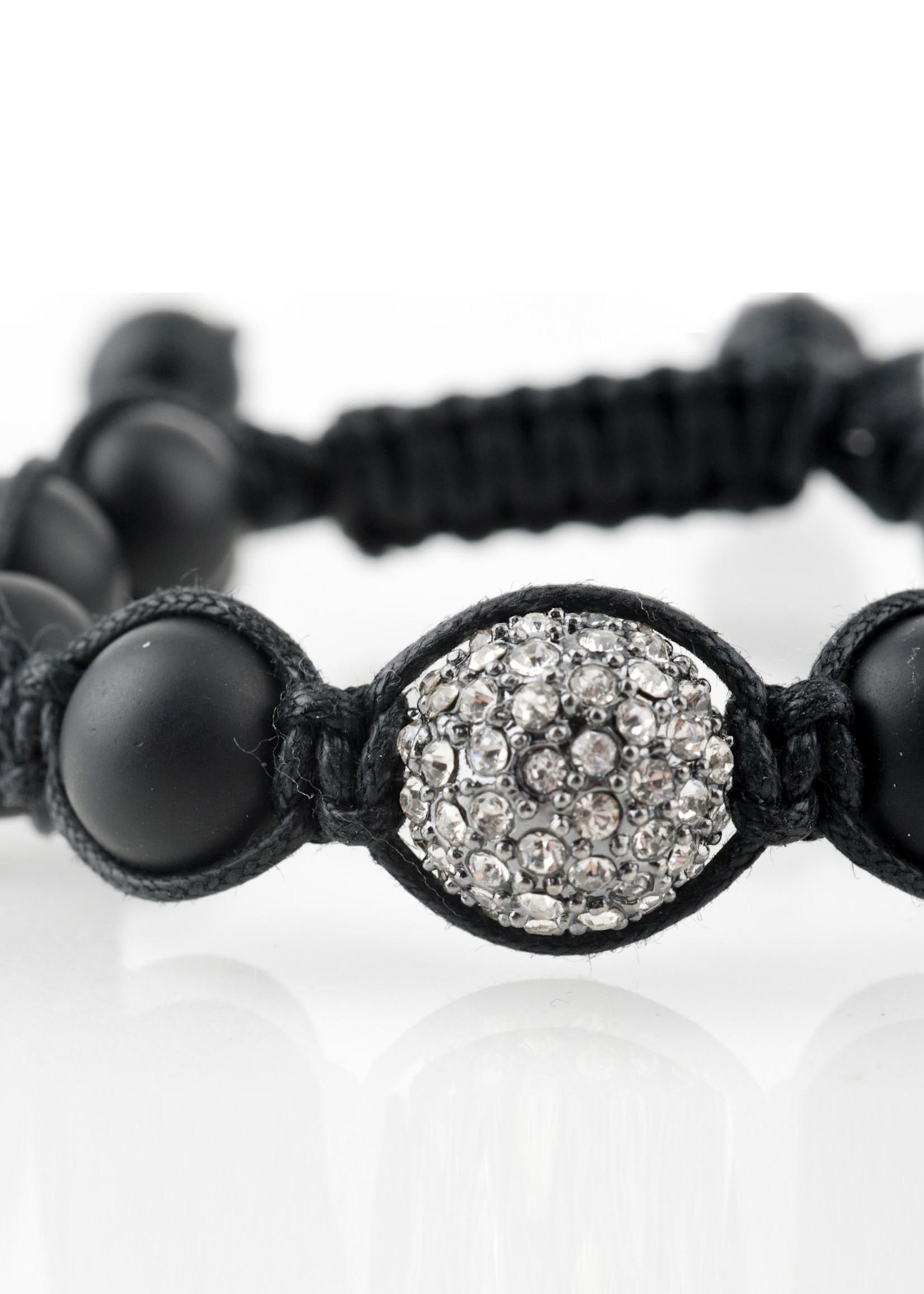Mina Danielle Macramé Black Onyx with Gunmetal Macramé Crystal Sphere