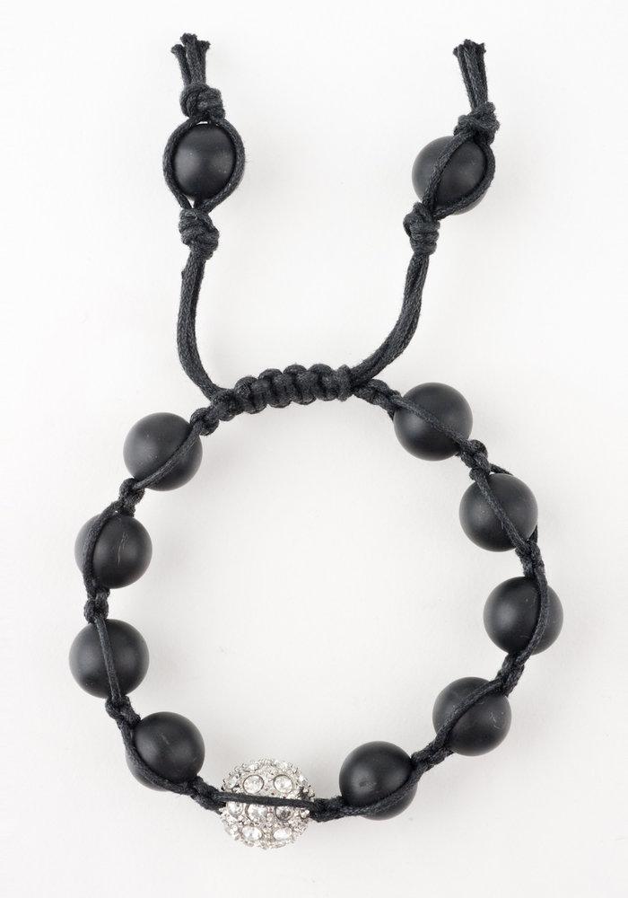 Macramé Black Onyx with Gunmetal Macramé Crystal Sphere