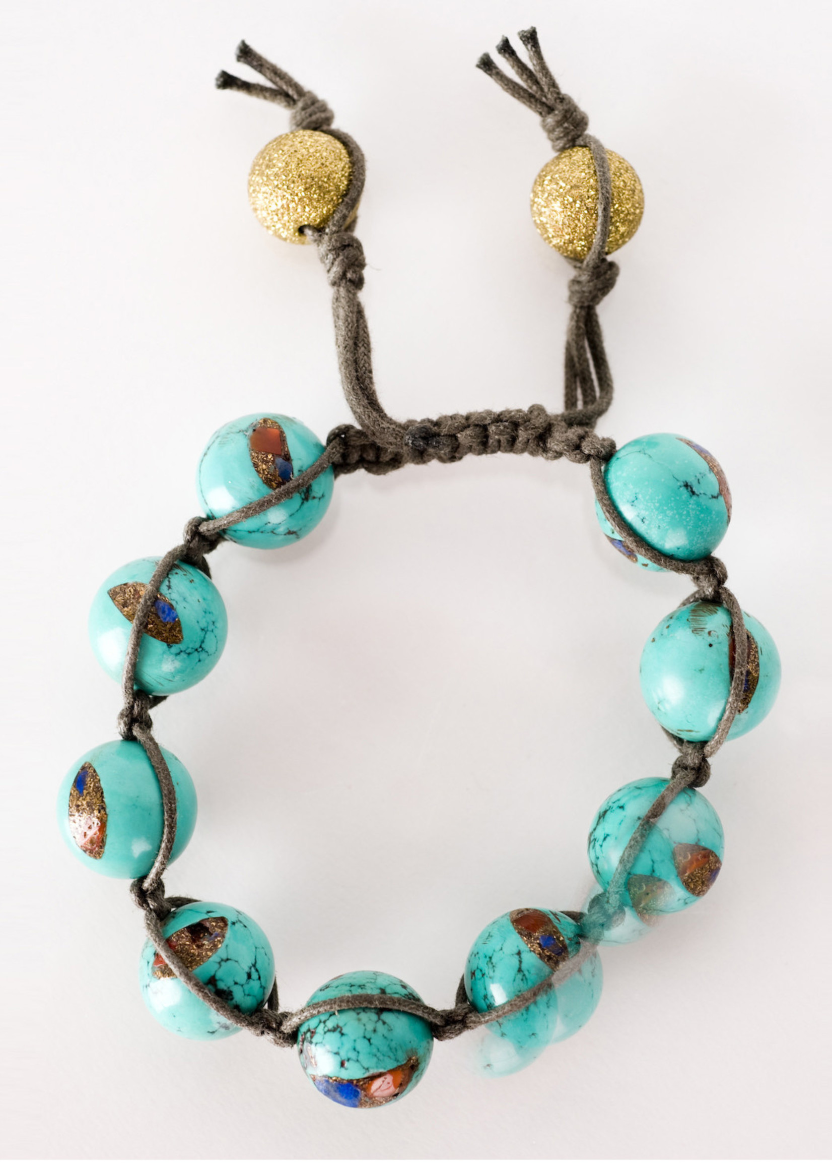 Mina Danielle Macramé Turquoise with Gold Stardust