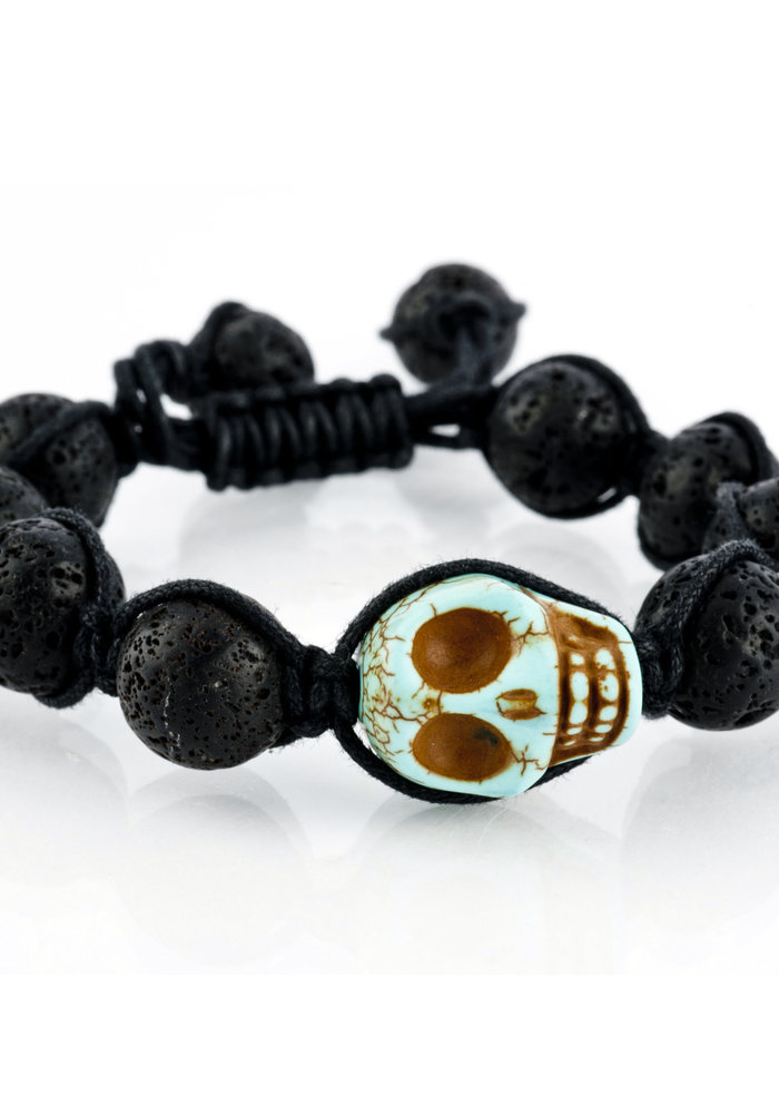 Macramé Lava Rock with Turquoise Skull