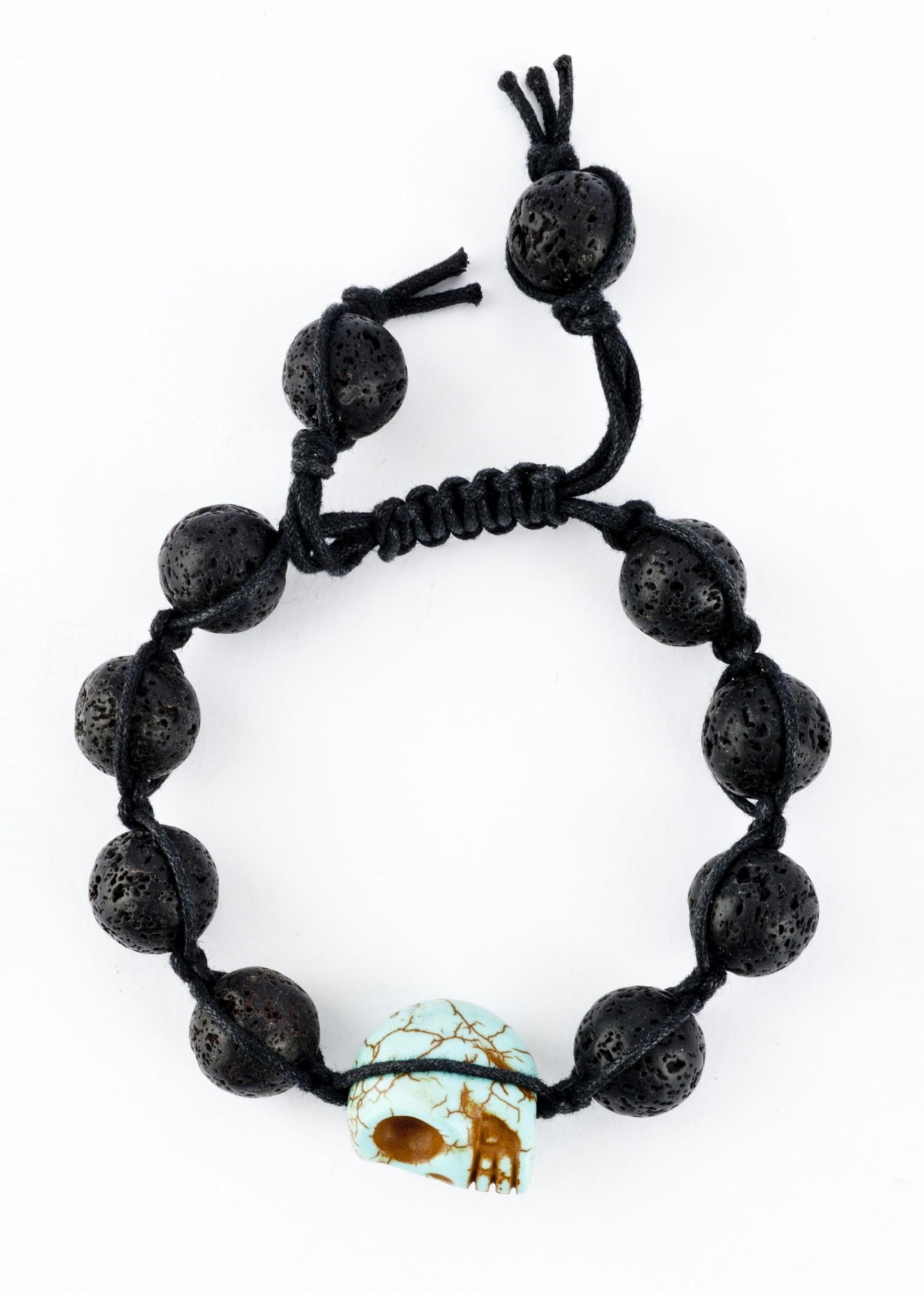 Mina Danielle Macramé Lava Rock with Turquoise Skull