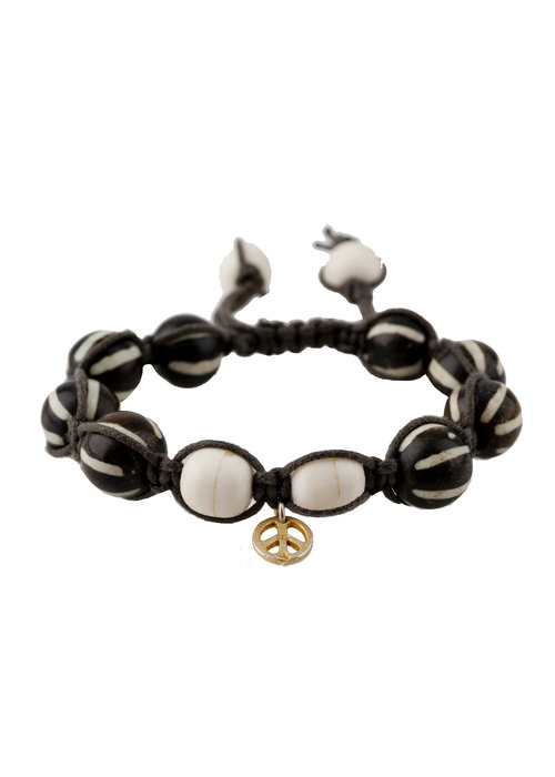 Mina Danielle Macramé Brown and White Bone Beads with Gold Peace Charm