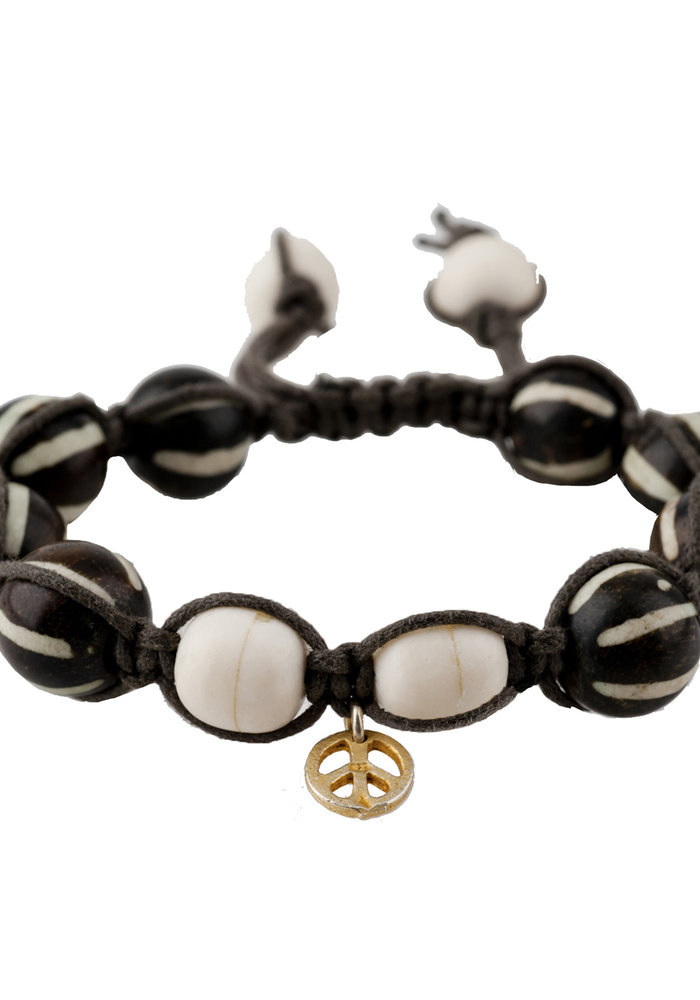 Macramé Brown and White Bone Beads with Gold Peace Charm