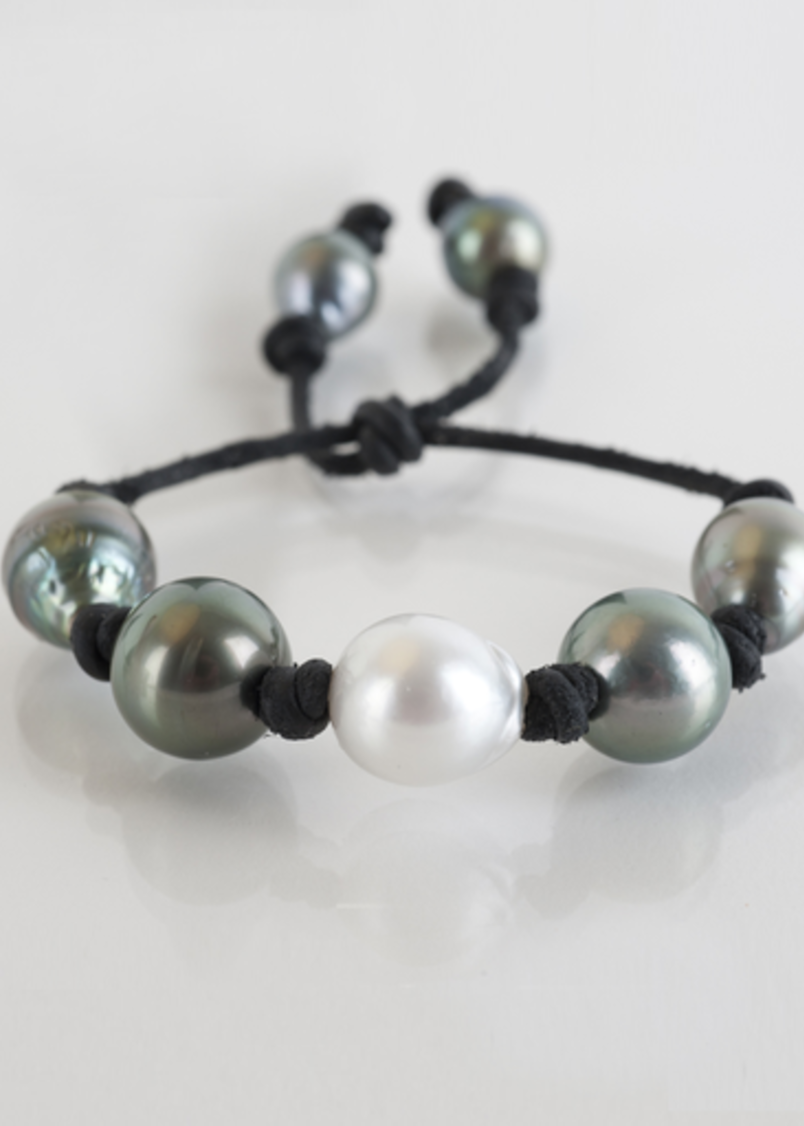 Mina Danielle South Sea and Tahitian Pearls on Black Leather Cord with adjustable sliding closure