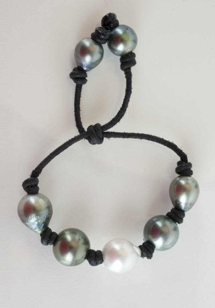 South Sea and Tahitian Pearls on Black Leather Cord with adjustable sliding closure